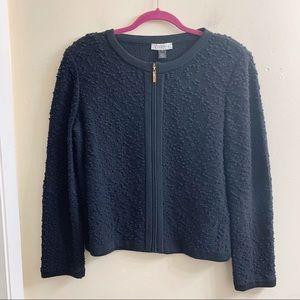 St.John sport black textured zip up jacket size 12